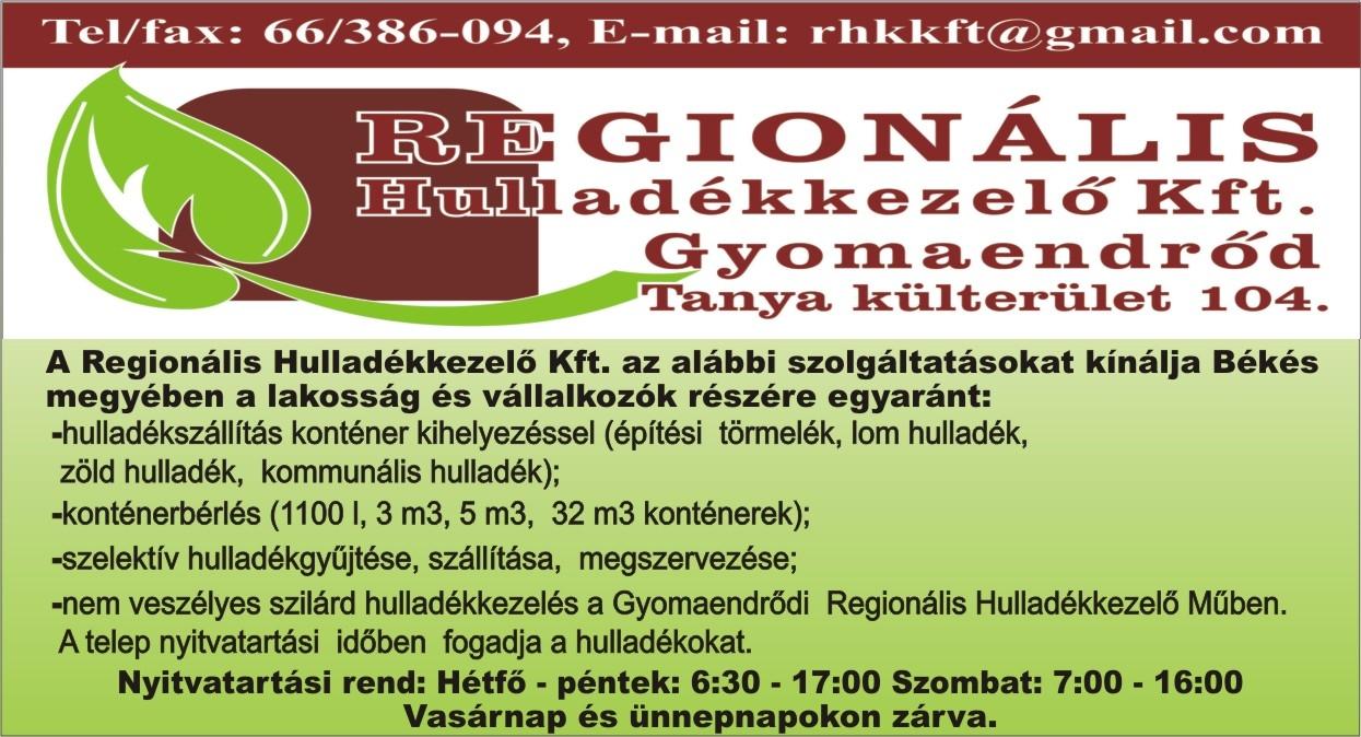 Regionális Hulladékkezelő Kft. (Gyomaendrőd) szolgáltatása